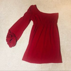 Judith March Maroon One Sleeved Dress
